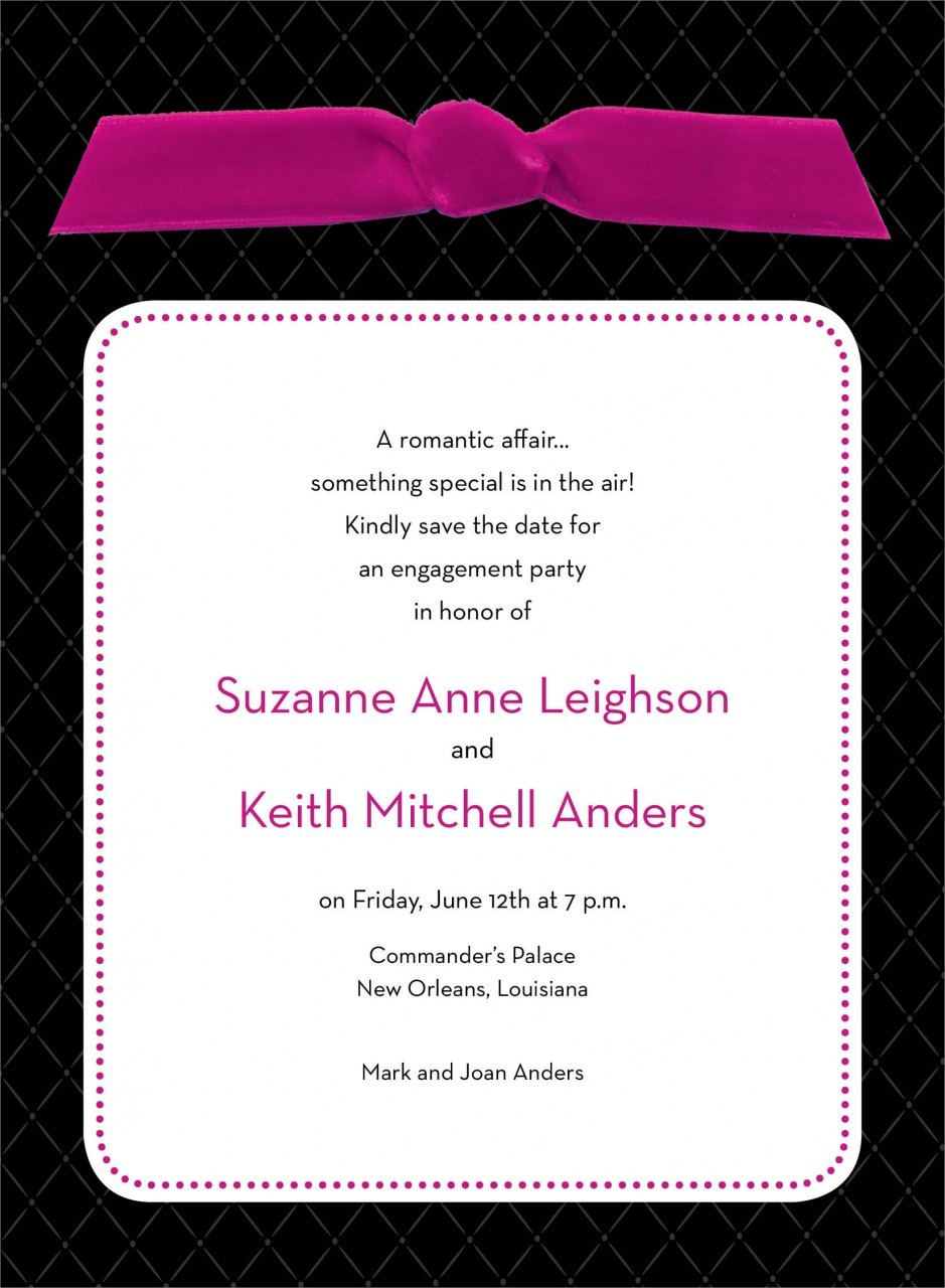 Black Quilted Invitation with Pink Ribbon