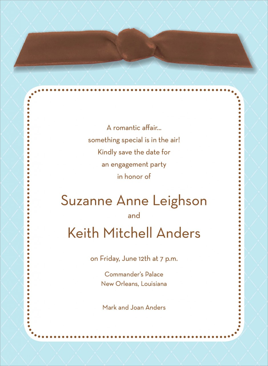 Blue Quilted Invitation with Chocolate Ribbon