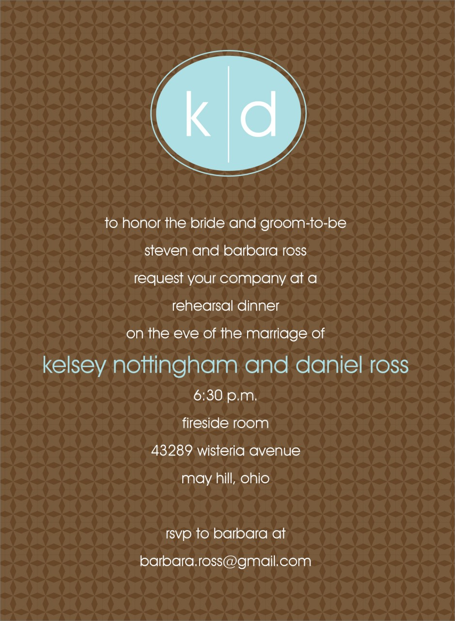 Chocolate and Blue Oval Monogram Invitation