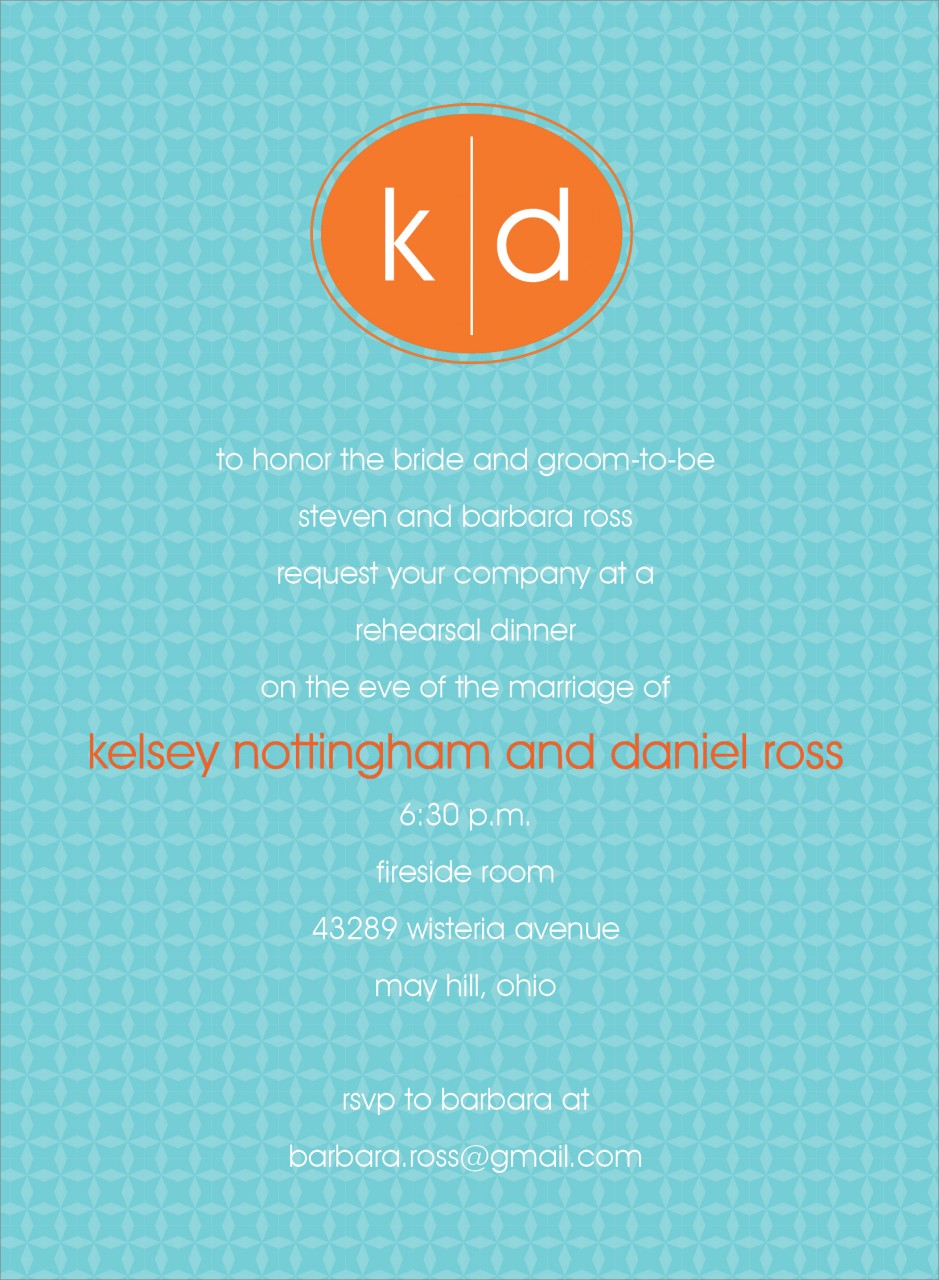 Blue and Orange Oval Monogram Invitation