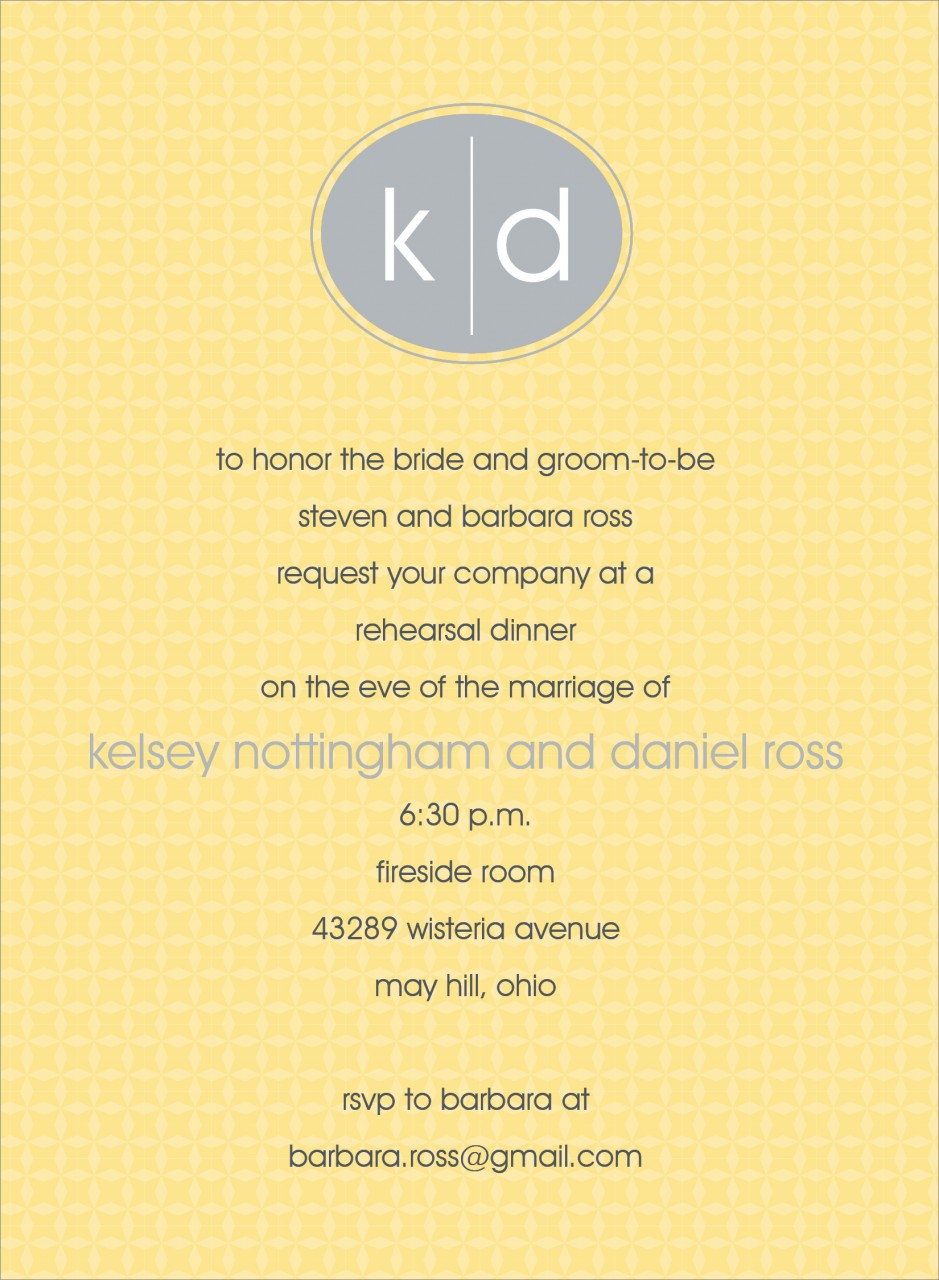 Yellow and Grey Oval Monogram Invitation
