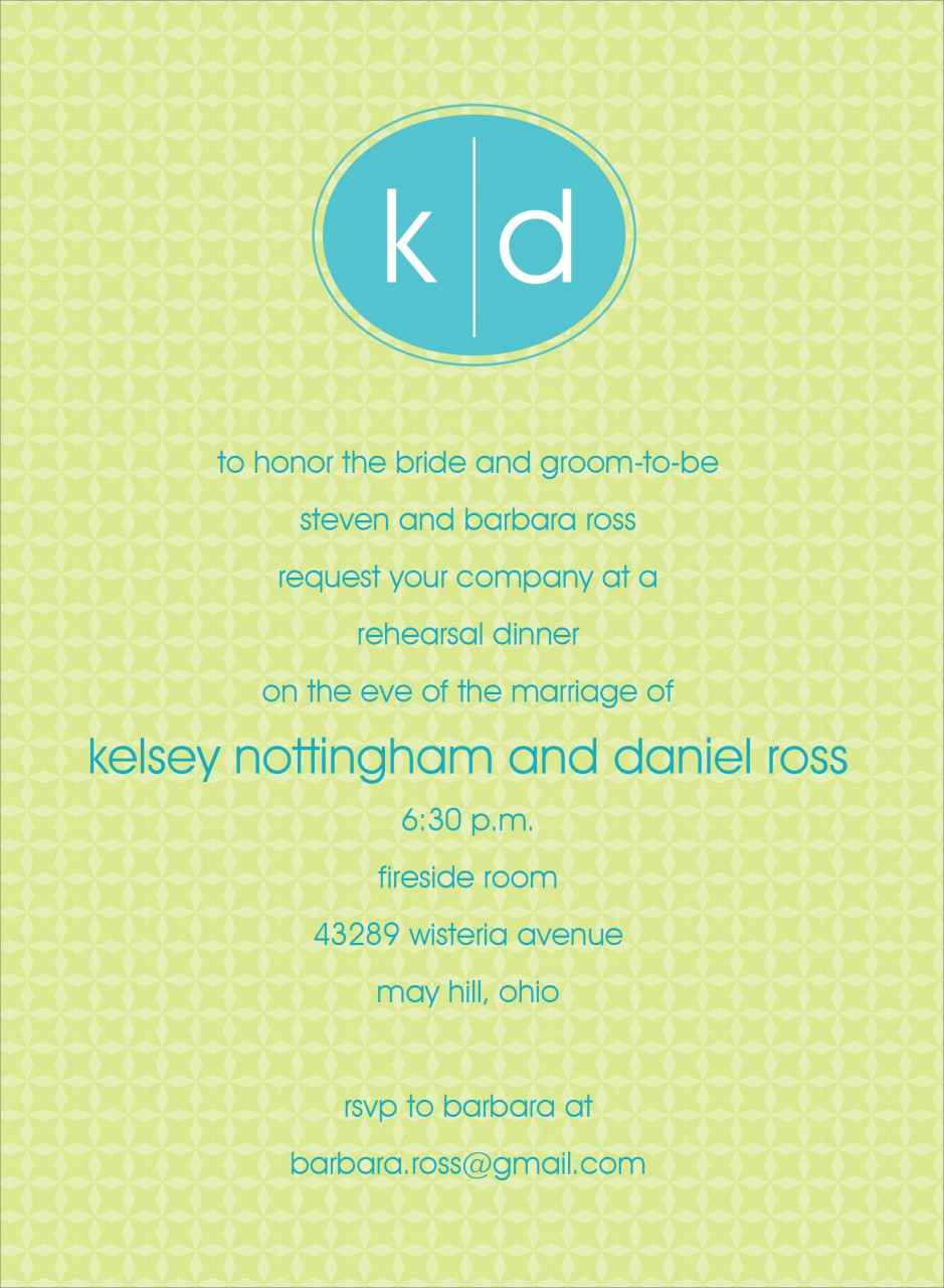 Green and Blue Oval Monogram Invitation