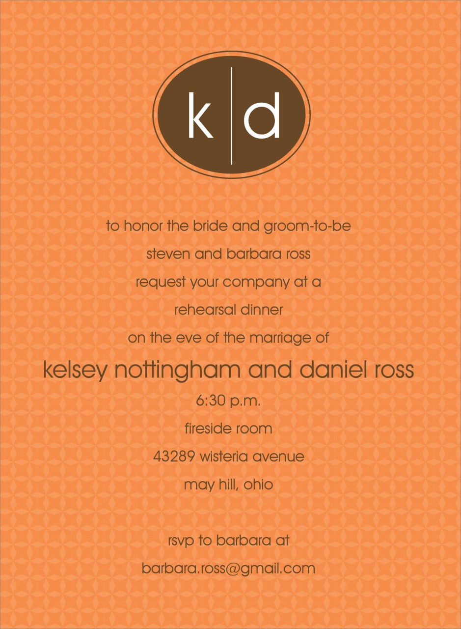 Orange and Chocolate Oval Monogram Invitation