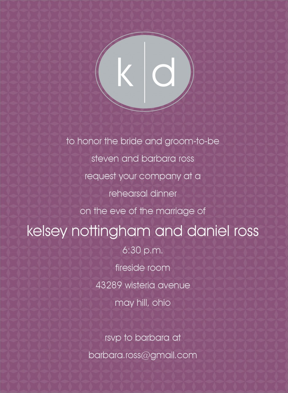 Purple and Grey Oval Monogram Invitation