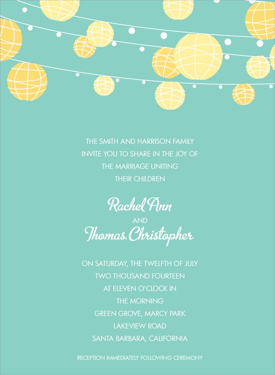 Green and Yellow Paper Lantern Invitation