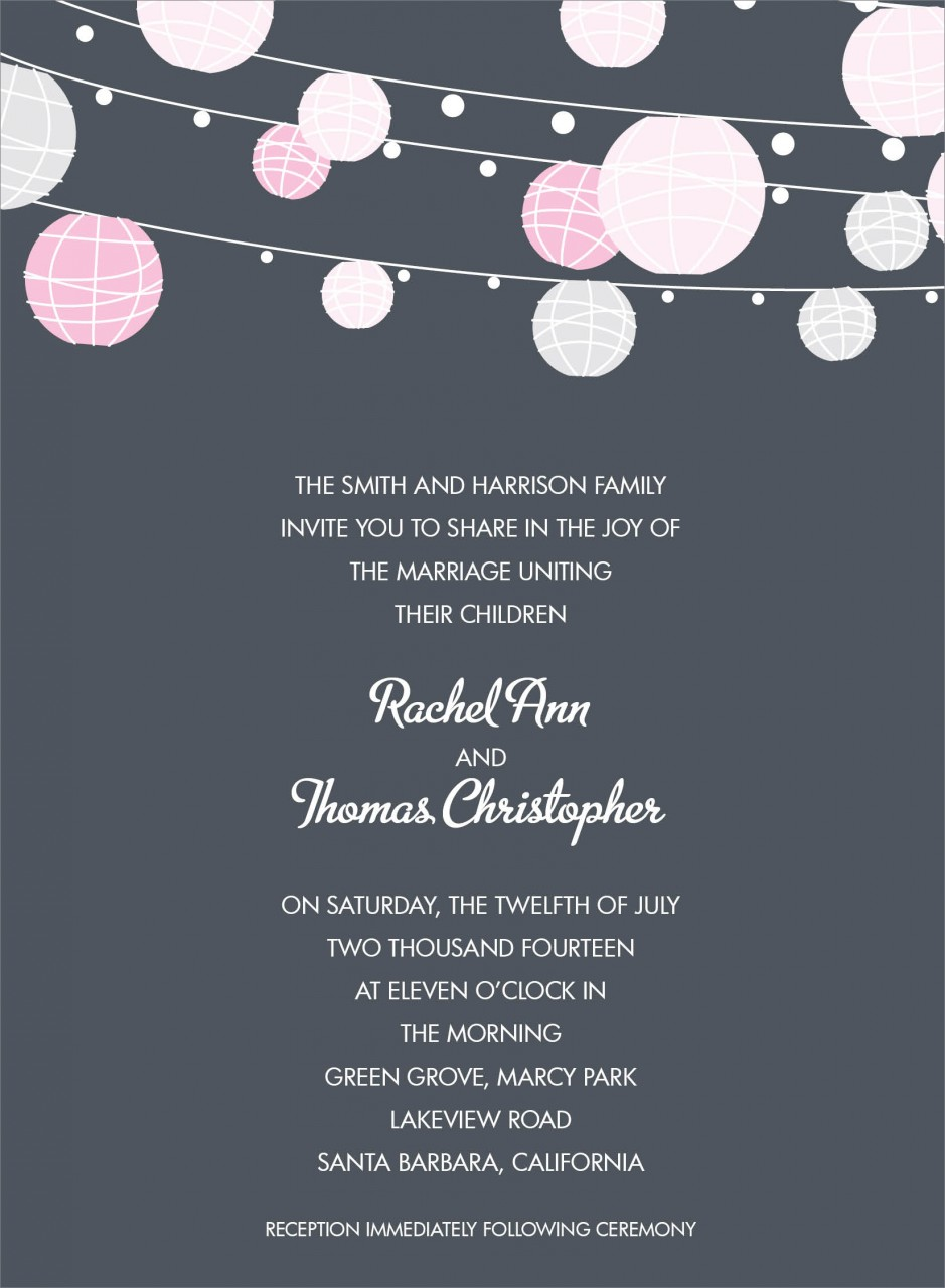 Charcoal and Pink Paper Lantern Invitation