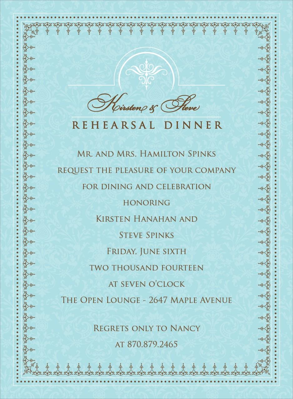 Blue and Charcoal Jacquard Invitation