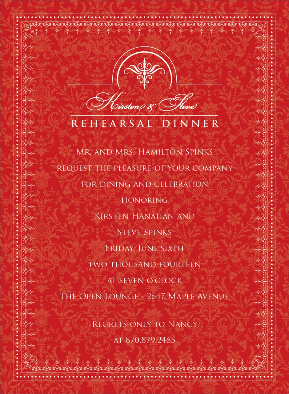 Red and White Jacquard Invitation