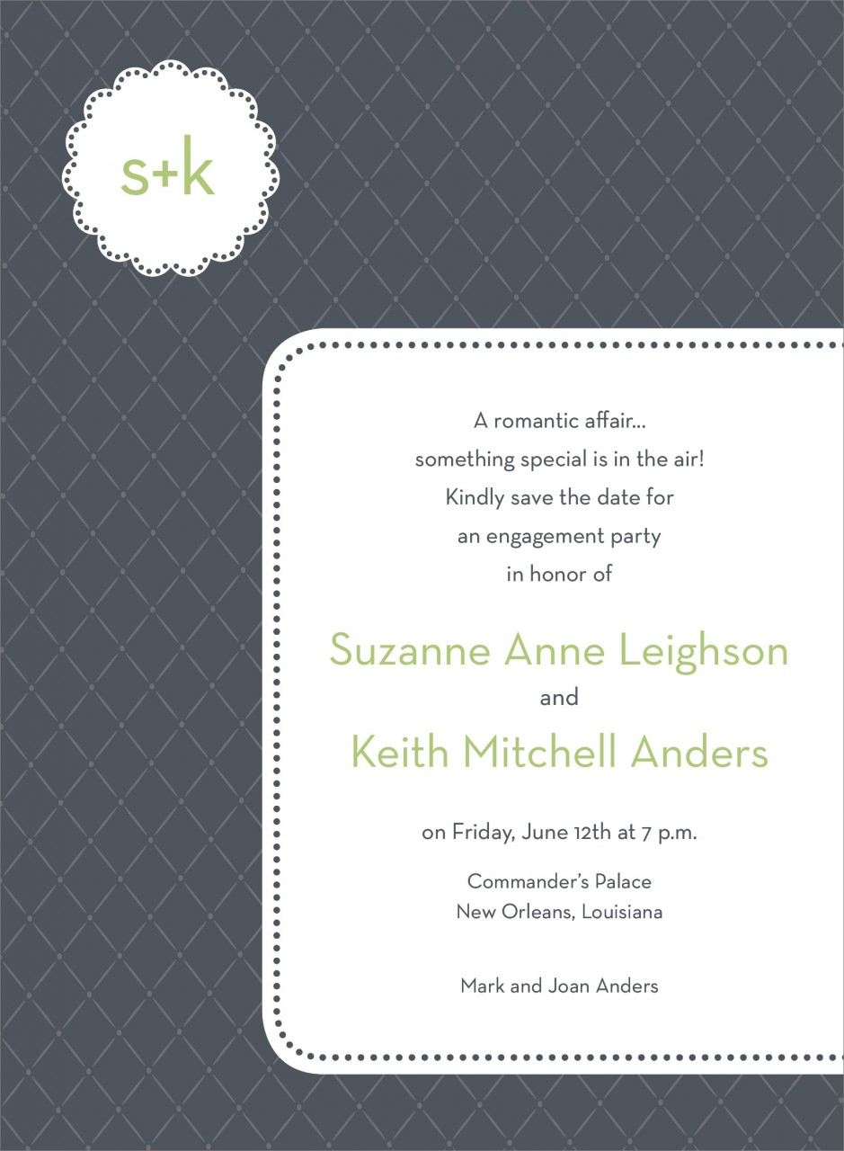 Charcoal Monogram Cloud Invitation