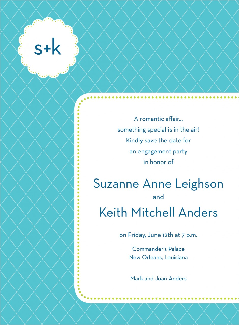 Blue Monogram Cloud Invitation