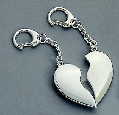 Nickel Plated Split Heart Key Chain