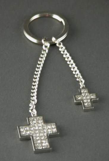 Nickel Plated All That Glitters Double Cross Key Ring