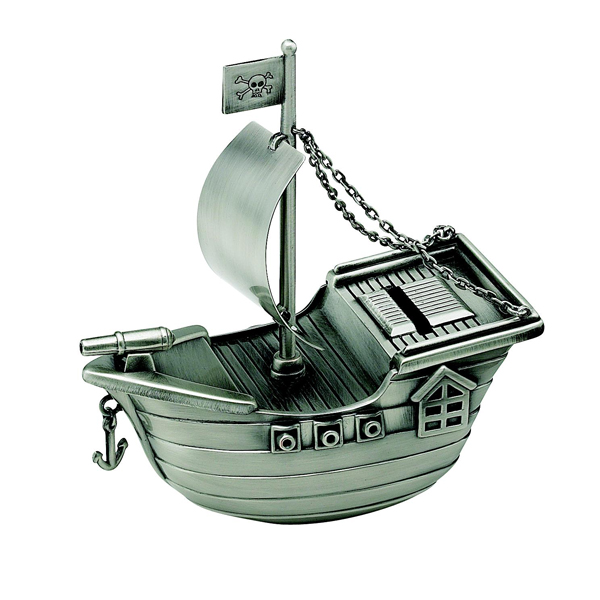 Personalized Pewter Finish Pirate Ship Bank