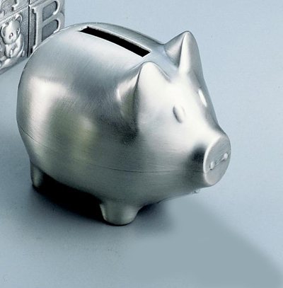 Personalized Pewter Finish Pig Bank