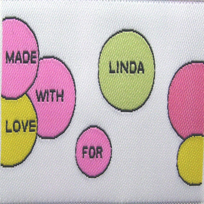 Color Bubbles with White Background Fabric Clothing Labels