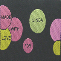 Colorful Bubbles with Black Background Fabric Clothing Labels