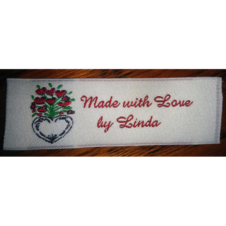 Heart Flower Bouquet Fabric Clothing Labels