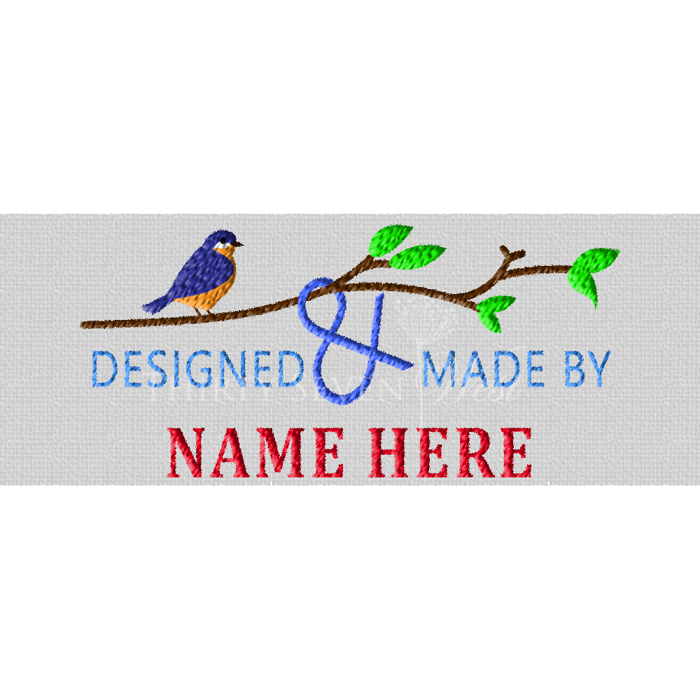 Blue Bird Pre-Designed Woven Fabric Clothing Labels