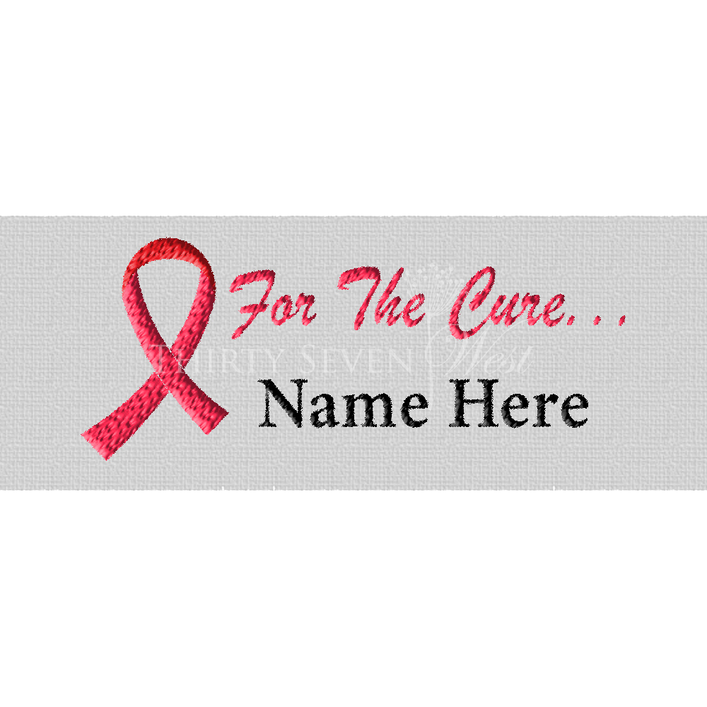 Breast Cancer - For the Cure Pre-Designed Woven Fabric Clothing Labels