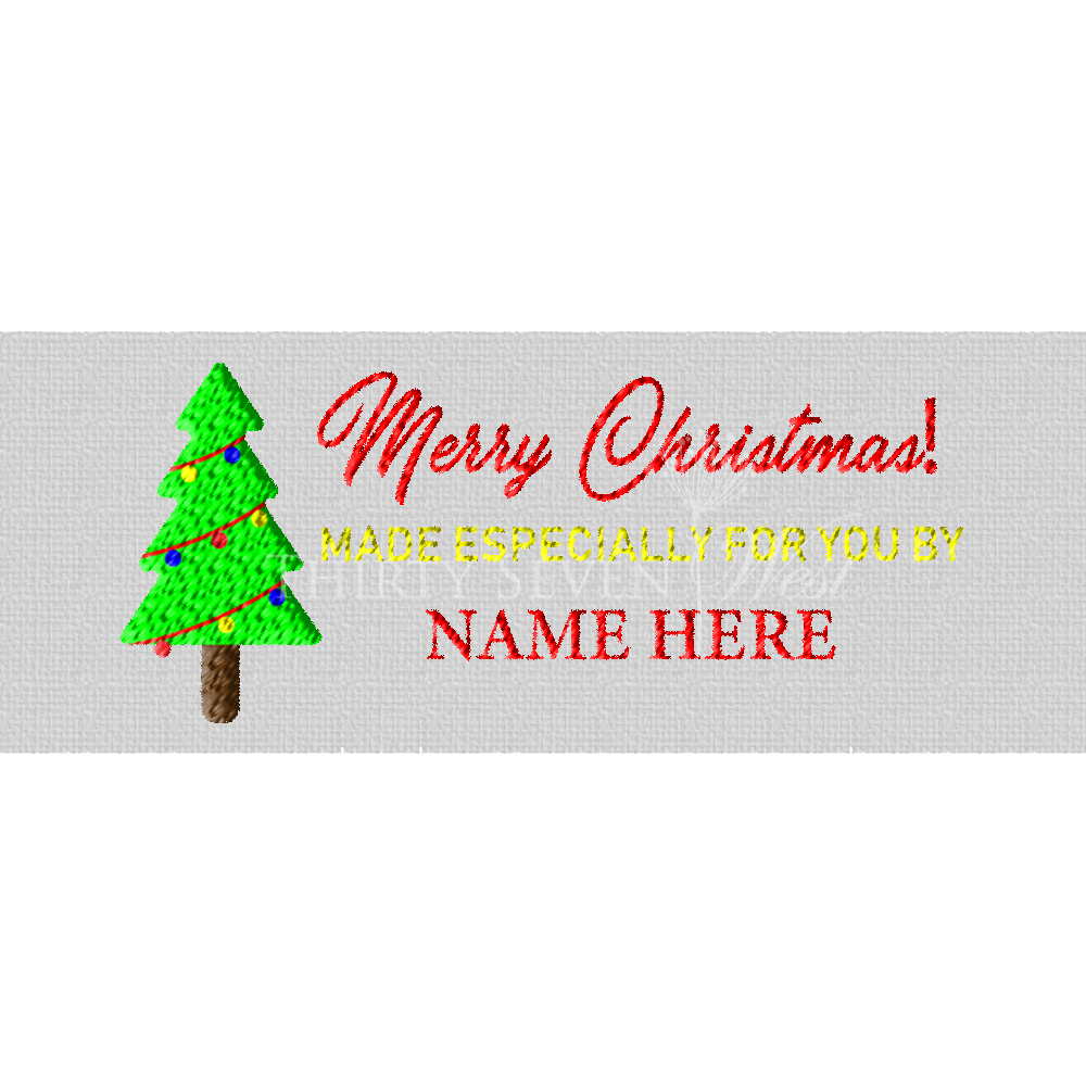Merry Christmas Made Especially for you by Pre-Designed Woven Fabric Clothing Labels