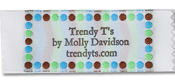 Brown, Blue, and Green Polka Dot Border Pre-Designed Woven Fabric Clothing Labels