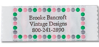 Pink, Grey, and Green Polka Dot Border Pre-Designed Woven Fabric Clothing Labels