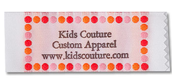 Pink, Red, and Orange Polka Dot Border Pre-Designed Woven Fabric Clothing Labels