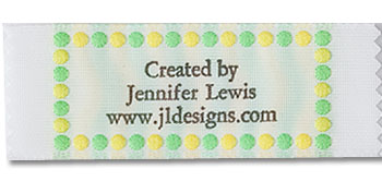 Yellow and Green Polka Dot Border Pre-Designed Woven Fabric Clothing Labels