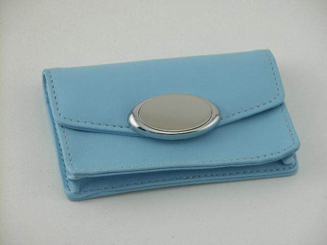 Baby Blue Card Case with Engraving Plate