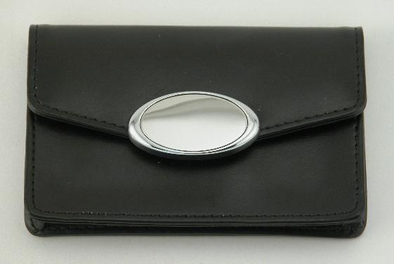 Black Card Case with Engraving Plate