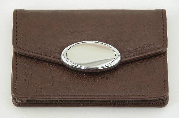Brown Card Case with Engraving Plate