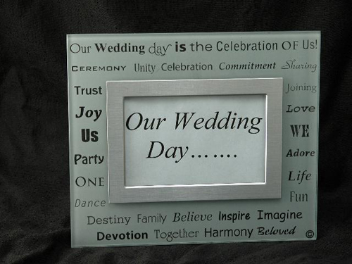 White Frosted Wedding Picture Frame