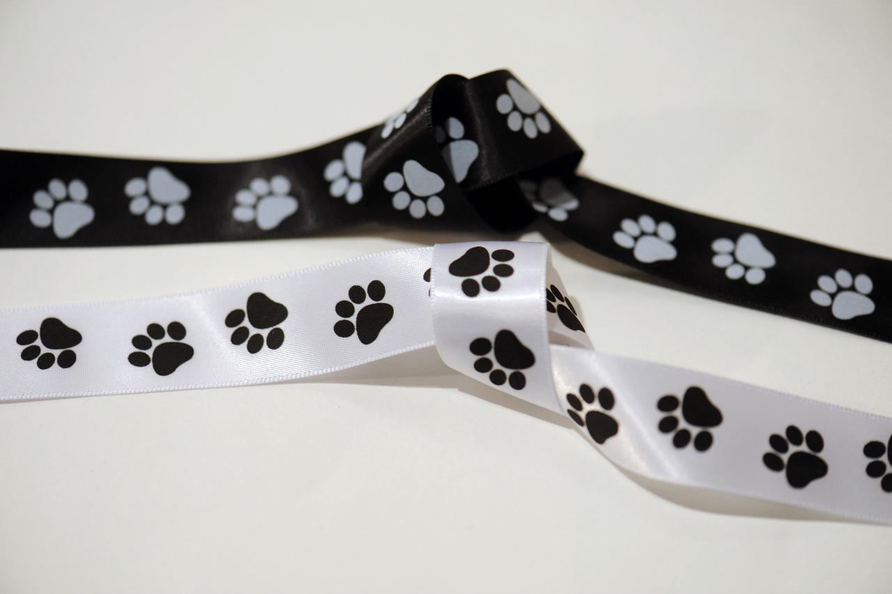 "Black and White Paw Print 7/8"" Satin Ribbon"