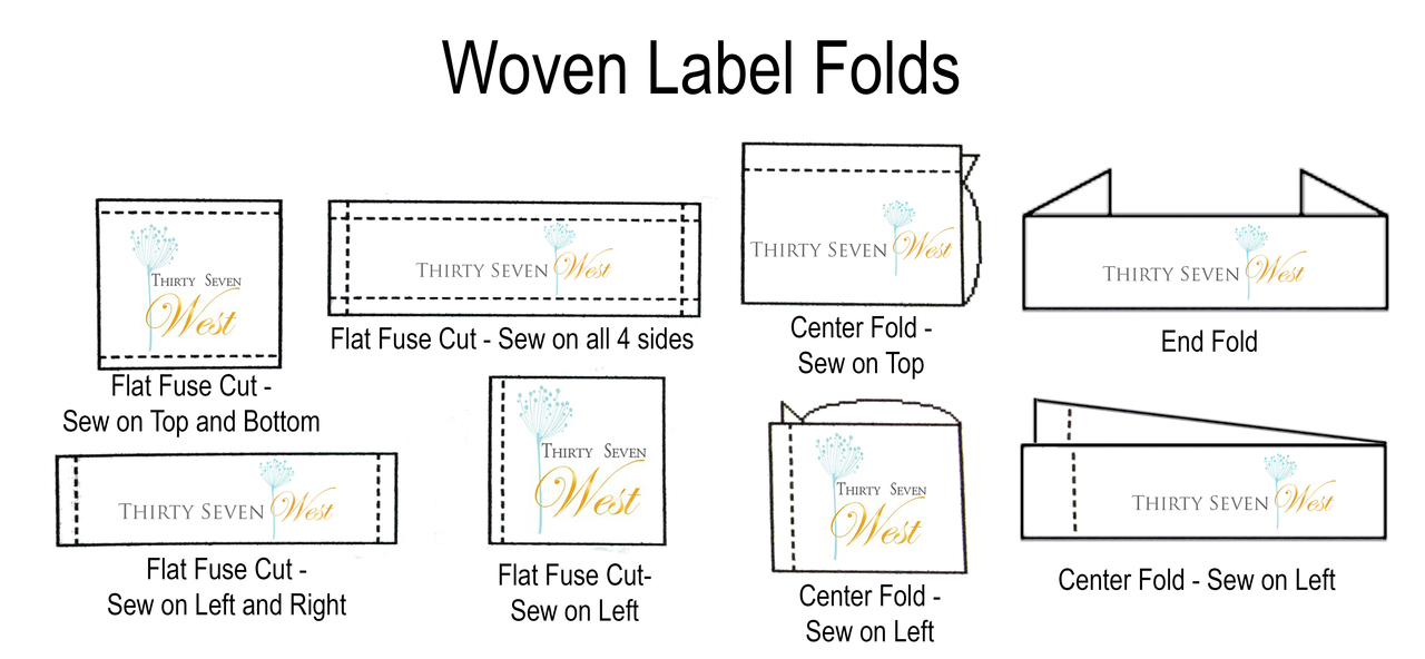 Types of folds for Custom Woven Crocheting Labels