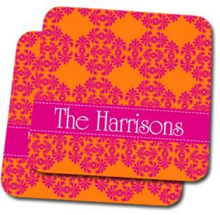 Frilly Orange and Pink Custom Coasters