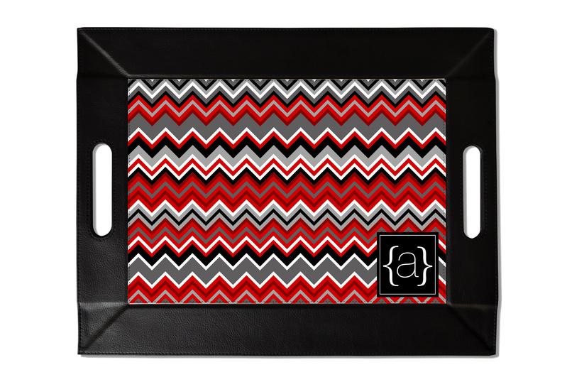 Garnet Chevron Custom Folding Tray with Coasters