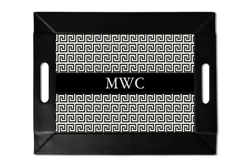 Black Greek Key Custom Folding Tray with Coasters