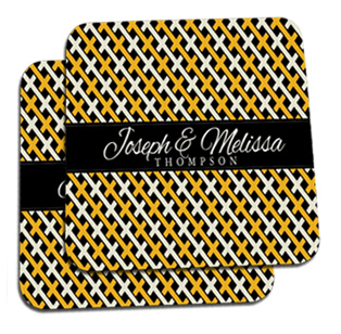 Interlock Black and Gold Coasters