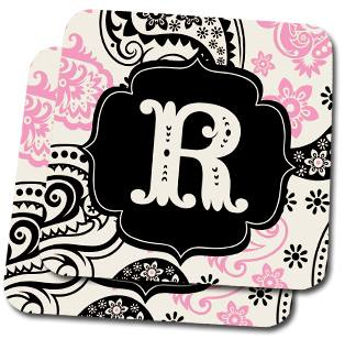 Pink Blush Paisley Custom Coasters