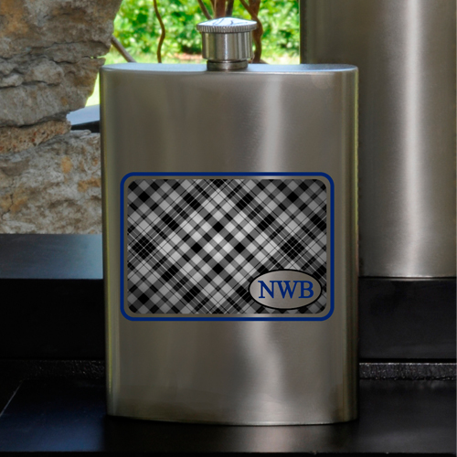 Guys Party Flasks with Monogram - Plaid Whiskey