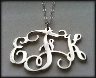 Sterling Silver Vine Monogram Pendant - EFK