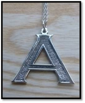Sterling Silver Block Initial Pendant - A