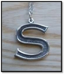 Sterling Silver Block Initial Pendant - S