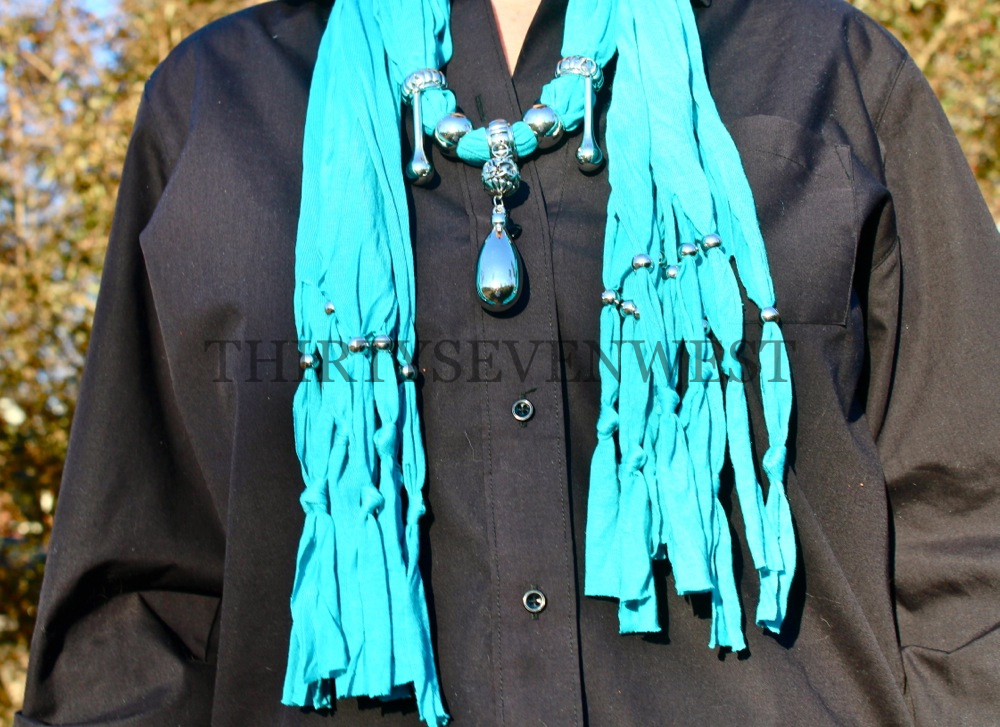 Jeweled Scarf - Turquoise with Tear Drops