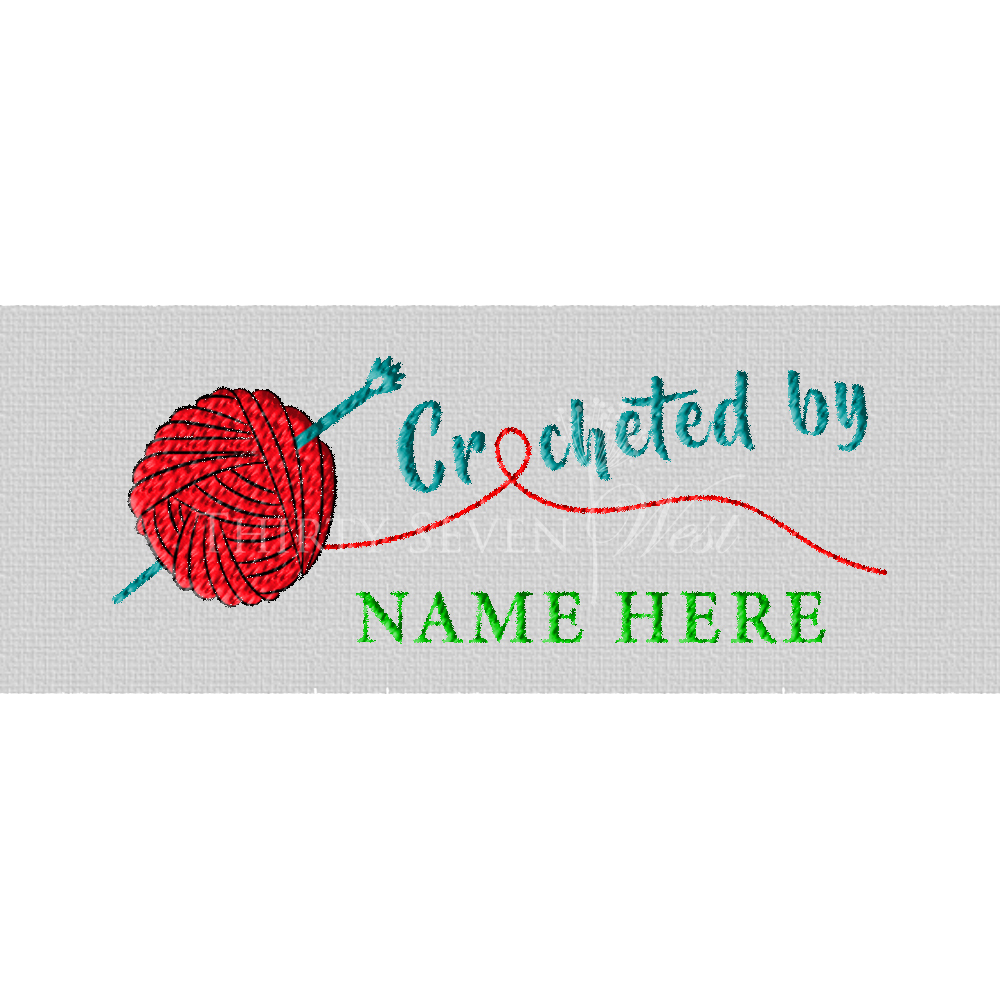 Crocheted by Predesigned Woven Fabric Clothing Labels