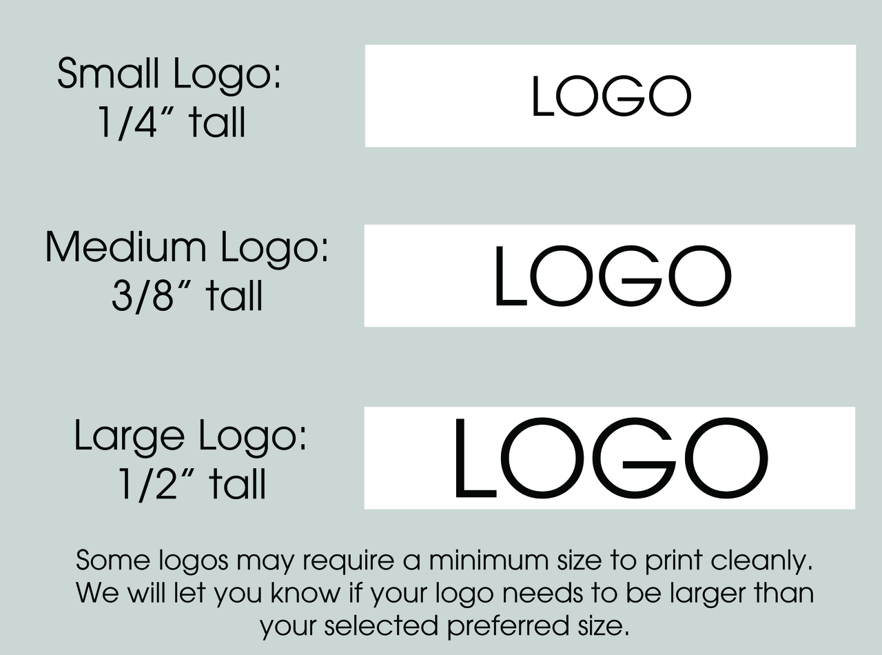 "5/8"" Custom Logo Textured Ribbon Logo Size Layouts"