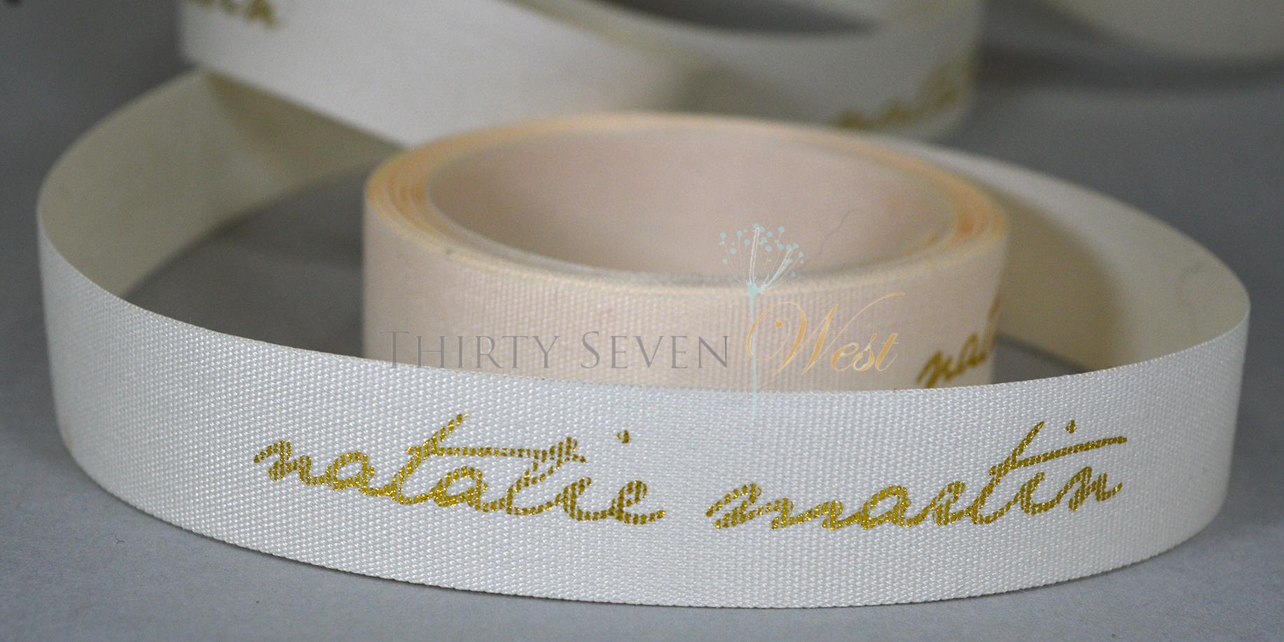 Texture Ribbon, Printed Ribbon, Gold Printed Ribbon, Business Logo on Ribbon, Metallic Printed Ribbon,  Matte Textured Ribbon.