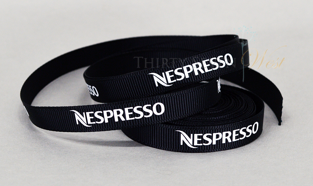 Nespresso Custom Logo Grosgrain Ribbon with white print