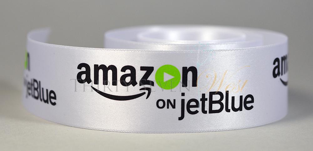 Multi Color Logo Ribbon, Full Color Logo Ribbon, Ultra-sheen White Ribbon, Pantone Color Logo Ribbon, PMS Color Logo Ribbon, Multi Color Custom Ribbon, Amazon on jetBlue