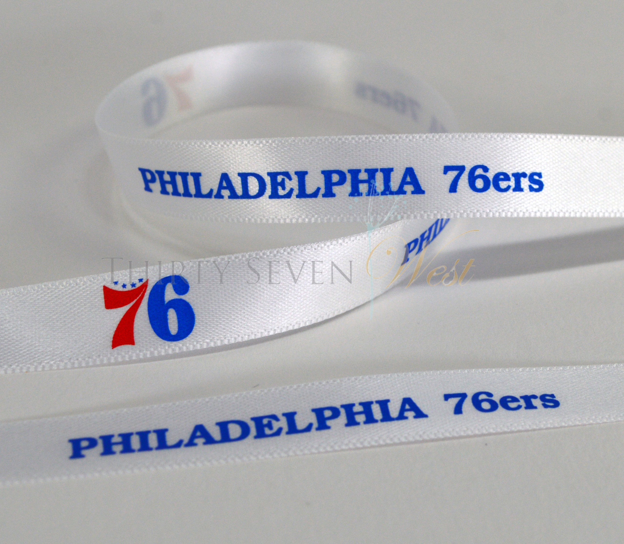 Custom Multi Color Logo Ribbon, Full Color Logo Ribbon, 2 Color Logo Ribbon, Two Color Logo Ribbon, Pantone Color Logo Ribbon, PMS Color Logo Ribbon, Multi Color Custom Ribbon, Philadelphia 76ers